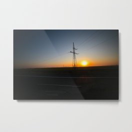 Sunrise with electric pole on the highway Metal Print