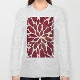 Petal Burst - Maroon Long Sleeve T-shirt