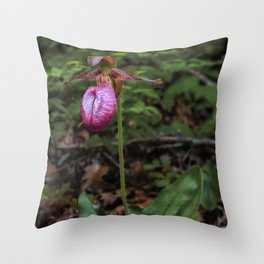 Wild Lady Slipper Flower Throw Pillow