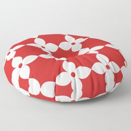 Minimalist Flower Pattern - Red and White Floor Pillow