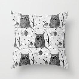 Black And White Owls Throw Pillow