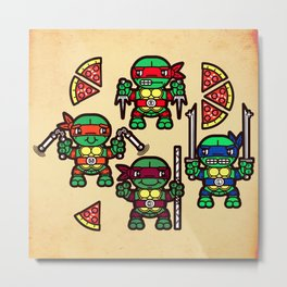 Teenage Mutant Ninja Turtles Pizza Party Metal Print