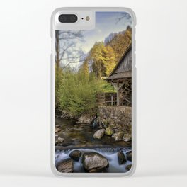 Autumn Water Wheel Clear iPhone Case