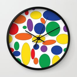 Bright circles and ovals on white Wall Clock