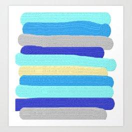 Ocean Blue Painter's Stripes Art Print