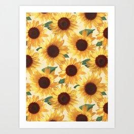 Happy Yellow Sunflowers Art Print