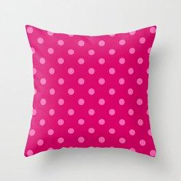 Extra Large Light Hot Pink Polka Dots on Dark Hot Pink Throw Pillow