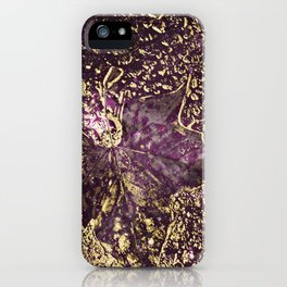 Purple leaves in melted gold iPhone Case
