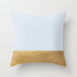 Color Blocked Gold & Periwinkle Throw Pillow