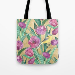 Blue Headed Wagtail in the Tulips Tote Bag