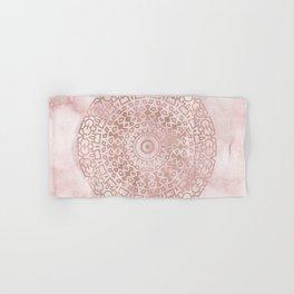 Misty pink marble rose gold mandala Hand & Bath Towel