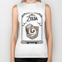 legend of zelda Biker Tanks featuring Zelda legend - Kokiri shield by Art & Be