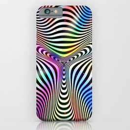 Holographic hypnotic pattern. Colorful iridescent effect. iPhone Case