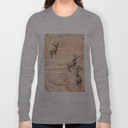 Stags walking the map Long Sleeve T-shirt