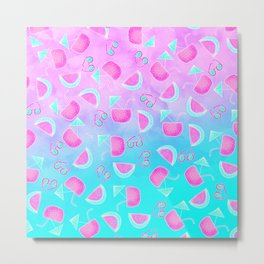 Modern summer tropical watercolor pattern pink turquoise watermelon coconut sunglasses illustration Metal Print