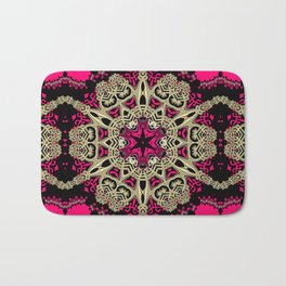 Hot Pink  + Hexagon Gold Star Bath Mat