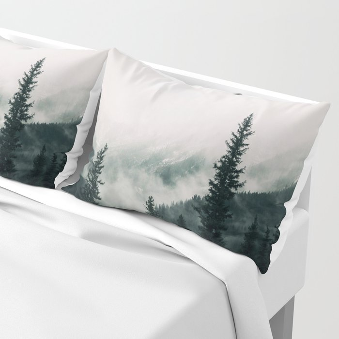 Over the Mountains and trough the Woods -  Forest Nature Photography Pillow Sham