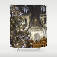 new year Shower Curtains featuring New Year 3 by Veronika