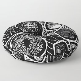 Black and white pattern - linogravure style Floor Pillow