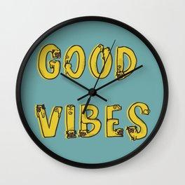 Good Vibes Pugs Wall Clock