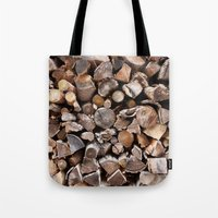pocket fuel Tote Bags featuring WOODEN FUEL by Connor Merrick