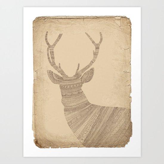 Stag / Deer (On Paper) Art Print