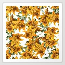 Botanical vintage green orange lily floral pattern Art Print