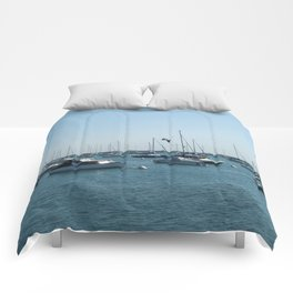 Chicago Sail Boats, Lake Michigan Shoreline Comforters
