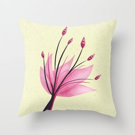 Pink Abstract Water Lily Flower Throw Pillow