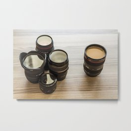 Filtered coffee in a lens body, surrounded by different lenses Metal Print