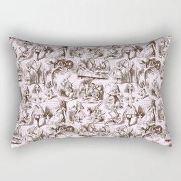 Alice in Wonderland | Toile de Jouy | Brown and Pink Rectangular Pillow