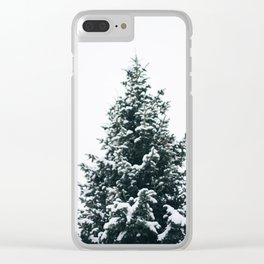 Snowy Pine Clear iPhone Case