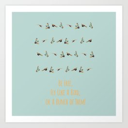 Flying Birds Upon Sunrise Art Print