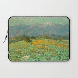 Granville Redmond snow cap spring landscape painting orange flowers green field Laptop Sleeve
