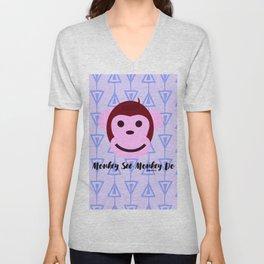 Monkey See Monkey Do II by Bagaceous Unisex V-Neck