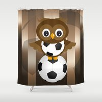 soccer Shower Curtains featuring Soccer Owl by Simone Gatterwe