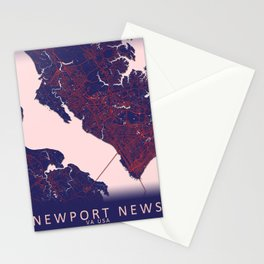 Newport News, VA, USA, Blue, White, City, Map Stationery Cards