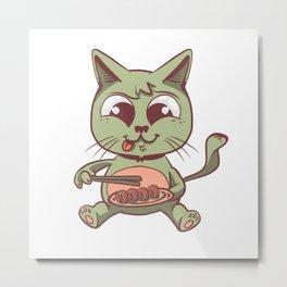 Cat eating Sushi Metal Print