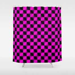 Hot Pink and Black Checker Dog Paws Shower Curtain