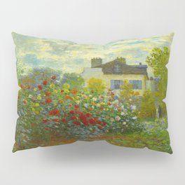 Claude Monet Impressionist Landscape Oil Painting A Corner of the Garden with Dahliass Pillow Sham