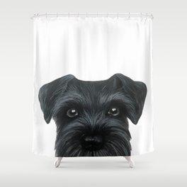 Black Schnauzer, Dog illustration original painting print Shower Curtain