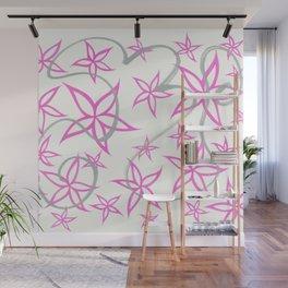 graffiti flowers : pink Wall Mural