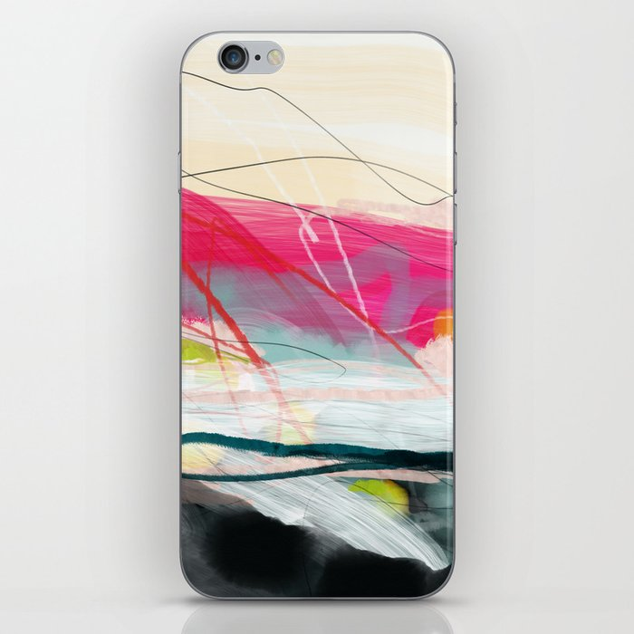 abstract landscape with pink sky over white cloud mountain iPhone Skin