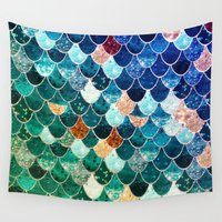 tiffany Wall Tapestries featuring REALLY MERMAID TIFFANY by Monika Strigel®
