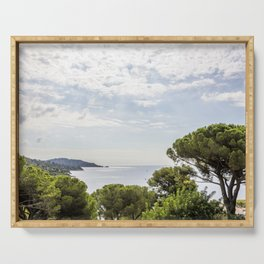 Seacoast near Le Lavandou and Bormes-les-Mimosas in French Riviera Serving Tray