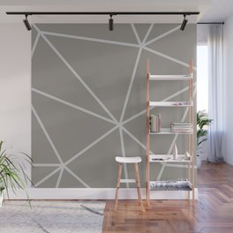 Geometric pattern shapes - white and beige Wall Mural