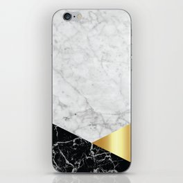 White Marble Black Granite & Gold #944 iPhone Skin