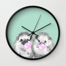 Playful Twins Hedgehog Wall Clock