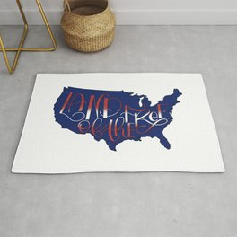 Land of the Free, USA, 4th of July BLUE Rug