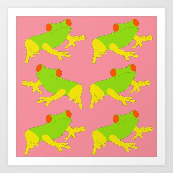 Five Frogs Facing The Wrong Way Art Print
